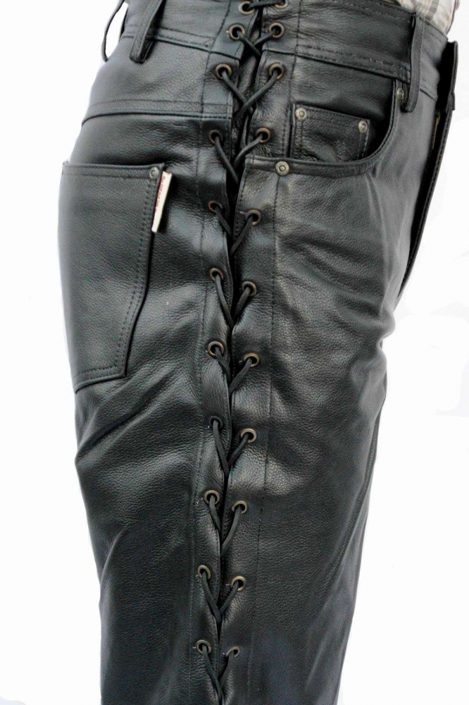 8b3cedf46608 Lace-up Leather Pants Fuente deluxe Cow Nappa Leather black