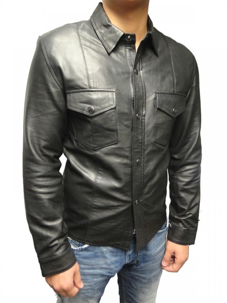 Lederhemd Langarm Ricano schwarz
