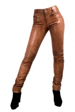 Tight Leather Pants DONNA Real Lambskin Leather cognac