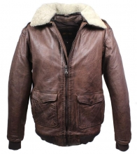 Leather Jacket Mytic Pilot-Style Lambskin Leather Vintage-Brown