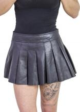 Minirock Leder Faltenrock schwarz