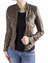 Ladies Leather Jacket Ricano Rihanna Lambskin Copper-Brown