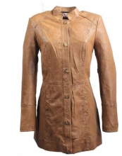 Womens Leather Coat Ricano Roma LambskinCognac