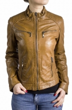 Leather Jacket Women Ricano Rihanna Lambskin Leather Cognac