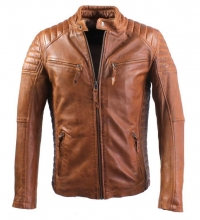 Mens Leather Jacket Ricano Cooper Biker-Style Lambskinleather Cognac