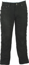 Lace-up Leather Pants Fuente deluxe Buffalo Nubuck Leather black