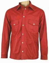 Mens Leathershirt Fuente deluxe Goat Nappaleather Red