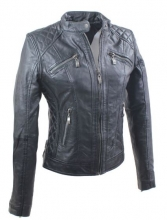 Womens Leather Jacket Ricano Biker-Style Lambskinleather black