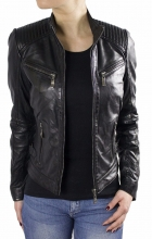 Womens Leather Jacket Ricano Rihanna Lambskin Leather Black