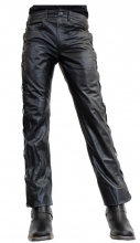 Lace-up Leather Pants Ricano Buffalo Nappa Leather black