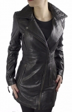 Ladies Leather Coat Oklahoma Lambskin Leather black