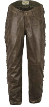 Lace-up Leather Pants Fuente deluxe Buffalo Nappa Leather antique-brown