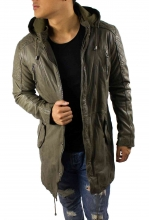 Leather Parka Ricano John Lambskinleather military-green