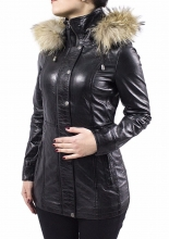 Womens Leather Coat Ricano Manta Lambskin Leather Black