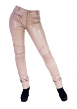 Tight Leather Pants Donna 2 Genuine Lambskin Leather Creme