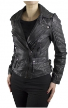 Womens Lambskin Leather Jacket Ricano Dahlia Black