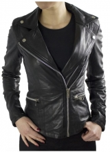 Womens Leather Jacket Ricano Betty Biker Style Lambskin Black