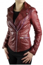 Ladies Leather Jacket Ricano Betty Biker Style Red
