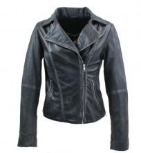 Womens Lambskin Leather Jacket Ricano Rose Mellow Black