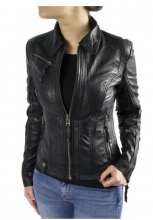 Womens Leather Jacket Ricano Sabra Lambskin Leather black