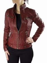 Womens Leather Jacket Ricano Derby Lambskin Leather Red