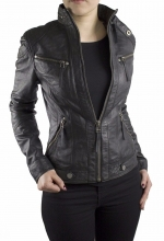 Ladies Leather Jacket Ricano Derby Lambskin Leather Black