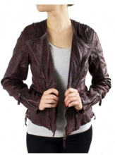 Ladies Leather Jacket Ricano Nancy Goat Nappa bordeaux red