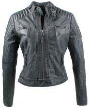 Ladies Leather Jacket Ricano Doris Lambskin Vintage Leather Grey