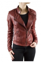 Lambskin Leather Jacket Biker-Style Ricano Tampa Red