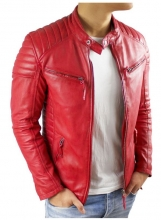 Mens Leather Biker Jacket Ricano Cooper Lambskinleather Red
