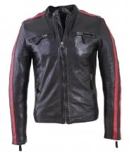 Herren-Lederjacke Rica Biker Lammnappaleder schwarz-rot