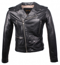 Biker-Lederjacke Ricano Short Jacket Rindnappaleder schwarz