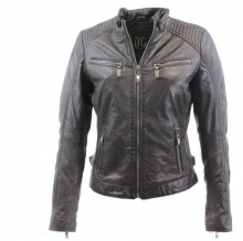 Womens Leather Jacket Ricano Rihanna Lambskinleather Darkbrown