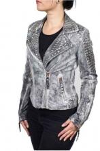Damen-Lederjacke Ricano Studd Lammnappaleder Vintage-grau