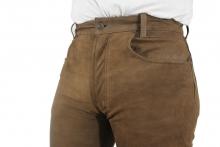 Lederhose Ricano 5-Pocket Lederjeans Büffel Nubukleder braun