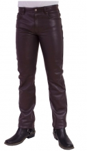 Leather Pants Cow Waxy Leather Ricano 5 Pocket Black