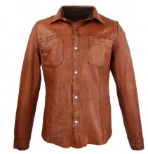 Lederhemd Ricano Reverse Shirt Lammnappaleder Cognac