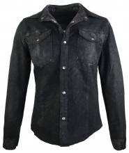 Leather shirt Ricano Reverse lambskinleather black