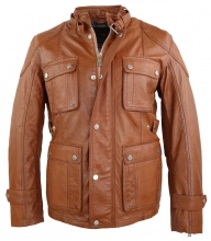Mens Leather Jacket Ricano Giovanni Lambskinleather cognac