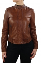 Womens Leatherjacket Ricano Sage Lambskin Leather Cognac