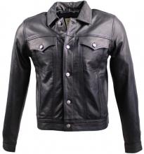Lederjacke Jeans Jacket  Cow Waxy Nappa-Leder schwarz