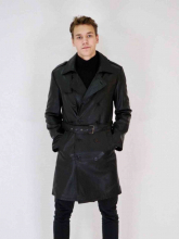 Leather Coat Levinsky Trench Lambskinleather black