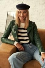 Womens Leather Jacket Ricano Eliza green