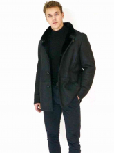 Leather Coat Levinsky Furs Cooper black