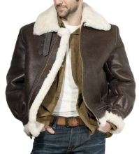Bomber Jacket US B3 Air Force Flight Jacket Sheepskin Leather brown