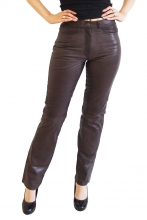 Tight Leather Pants 9809 Genuine lambskin leather darkbrown
