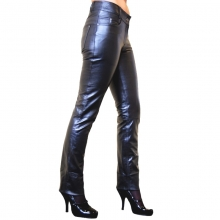 Womens Leather Pants Dorin 5 Pocket Style Lambskin Leather black