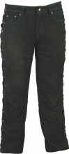 Ricano Lace-up Leather Pants Buffalo Nubuck Leather black