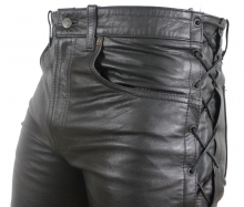 Lace-up Leather Pants Ricano 501 Cow Waxy Leather Black